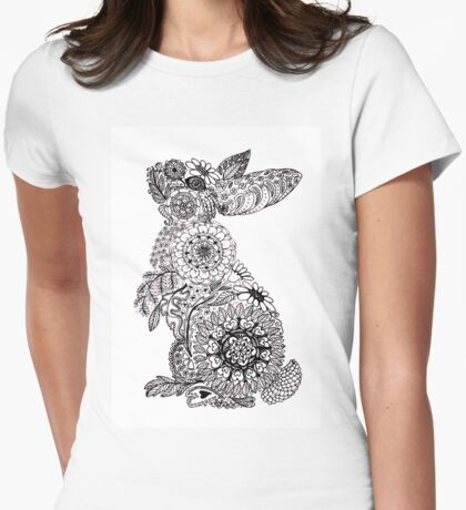 Doodle Bunny Womens Fitted T-Shirt
