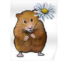 Cute Hamster with Daisy Flower, Original Art Poster