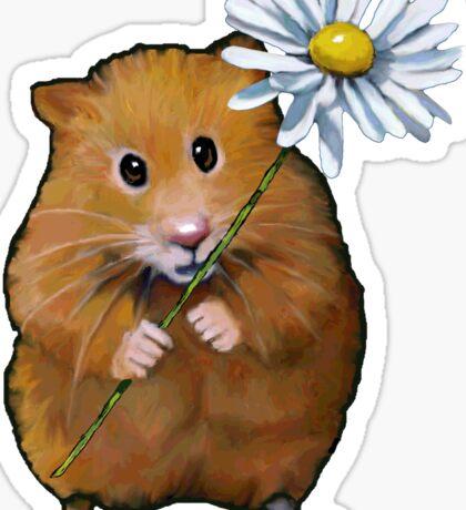 Cute Hamster with Daisy Flower, Original Art Sticker