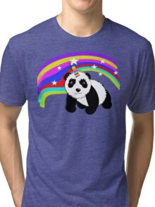 Cute Panda Bear Fantasy Rainbow Unicorn  Tri-blend T-Shirt
