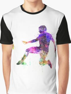 man soccer football player flying kicking Graphic T-Shirt