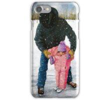 Cowboy Dad Teaching Daughter to Skate: Oil Pastel, Winter iPhone Case/Skin
