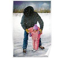 Cowboy Dad Teaching Daughter to Skate: Oil Pastel, Winter Poster
