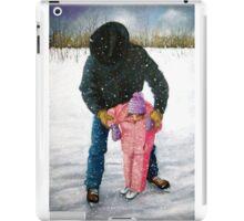 Cowboy Dad Teaching Daughter to Skate: Oil Pastel, Winter iPad Case/Skin
