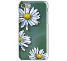 Three Daisies on Green Background, Art, Illustration iPhone Case/Skin