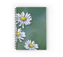Three Daisies on Green Background, Art, Illustration Spiral Notebook