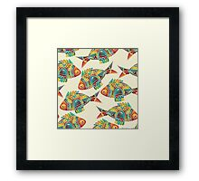 Colorful Modern Abstract Geometric Fish Pattern Framed Print