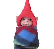 Elf Baby with Red Pointed Hat, Polymer Clay Creation by Joyce Geleynse