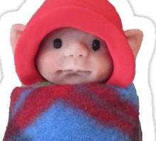 Elf Baby with Red Pointed Hat, Polymer Clay Creation Sticker