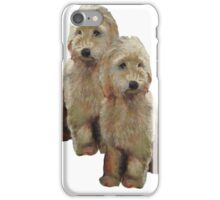 Golden Doodle Puppies, Dog Couple, Oil Pastel Art iPhone Case/Skin
