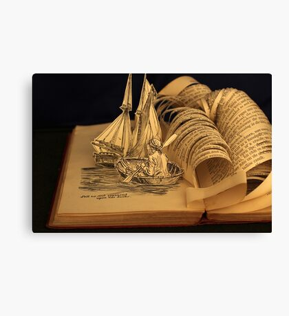 Treasure Island book sculpture. Still no soul appeared upon her decks. Canvas Print