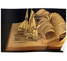 Treasure Island book sculpture. Still no soul appeared upon her decks. Poster