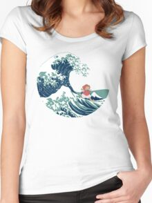 Ponyo and The Great Wave off Kanagawa - Moderne Women's Fitted Scoop T-Shirt