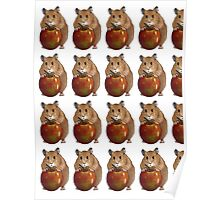 Hamster with Big Red Apple, Original Illustration Poster