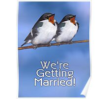 We're Getting Married, Wedding Announcement, Birds Poster