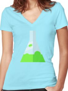 Conical Flask Pattern Women's Fitted V-Neck T-Shirt