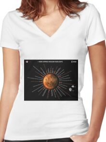 Mars Express Timeline Infographic Women's Fitted V-Neck T-Shirt