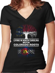 LIVING IN NORTH CAROLINA WITH COLORADO ROOTS Women's Fitted V-Neck T-Shirt