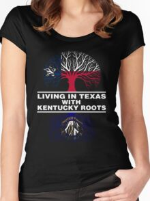 LIVING IN TEXAS WITH KENTUCKY ROOTS Women's Fitted Scoop T-Shirt