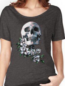 Skull & Magnolia Flowers Women's Relaxed Fit T-Shirt