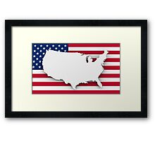 American flag and map Framed Print