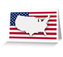 American flag and map Greeting Card