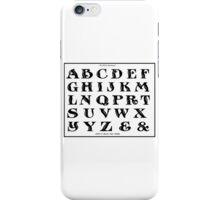 Vintage 1906 Alphabet Rustic Roman font black and white art iPhone Case/Skin