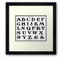 Vintage 1906 Alphabet Rustic Roman font black and white art Framed Print