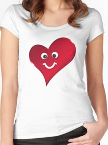 Smiling funny heart Women's Fitted Scoop T-Shirt