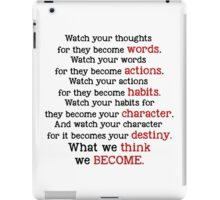 Watch your thoughts quote Margaret Thatcher iPad Case/Skin