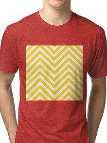Chevron Yellow and White Pattern Tri-blend T-Shirt