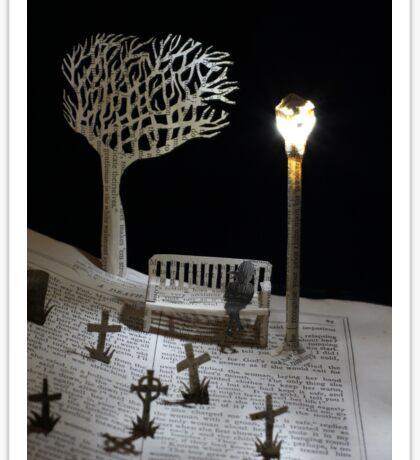 Paper craft lonely Churchyard book sculpture Sticker
