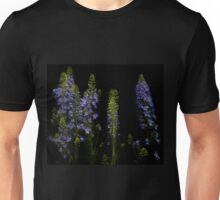 Row of blue delphiniums Unisex T-Shirt
