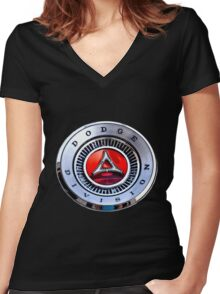 Classic Dodge Car Emblem  Women's Fitted V-Neck T-Shirt