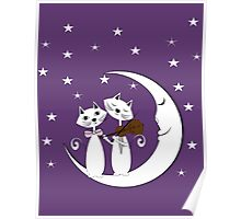 Cats Serenade Sitting On A Crescent Moon Poster