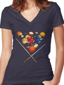 pool billard, billard balls Women's Fitted V-Neck T-Shirt