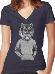 Hipster urban tiger Women's Fitted V-Neck T-Shirt
