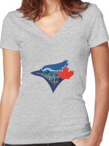 Toronto Blue Jays Skyline Logo Women's Fitted V-Neck T-Shirt