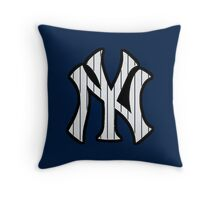 New York Yankees Pinstripes Logo Throw Pillow