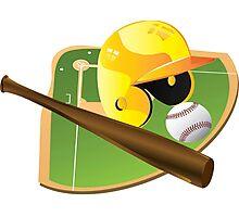 Yellow Baseball Photographic Print