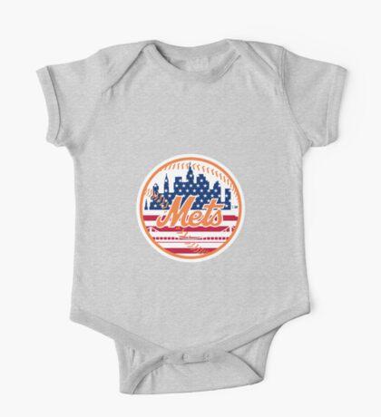 New York Mets Flag Logo One Piece - Short Sleeve