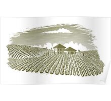 Woodcut Vineyard Landscape Poster