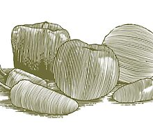 Woodcut Vegetable Still Life by blue67sign