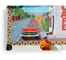 Motorcycle Man and Mural in Hillsboro, New Mexico Metal Print