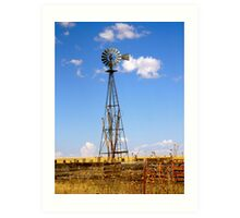 Windmill in Moriarty, New Mexico Art Print