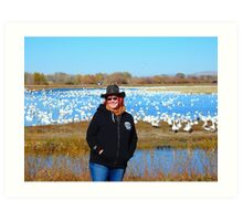 Bosque, Snowgeese, & the Photographer Art Print