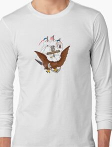 United States Navy Anchor Constitution Eagle Insignia Long Sleeve T-Shirt