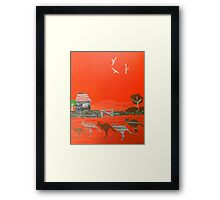Kangaroo country - Collage of old Australian outback scene Framed Print