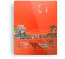 Kangaroo country - Collage of old Australian outback scene Metal Print