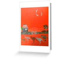 Kangaroo country - Collage of old Australian outback scene Greeting Card